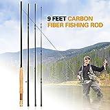 Explopur Canna da Pesca a Mosca Staccabile in Fibra di Carbonio - 9 Piedi 2,7 m 4 sezioni Canna da Pesca Attrezzatura da Pesca