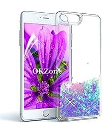 """OKZone Funda iPhone 8 Plus,Funda iPhone 7 Plus [con Protector Pantalla], Brillo Brillante Liquida Sparkly Creativo Arenas Movedizas Protección Protectora Case para Apple iPhone 8/7 Plus 5.5""""(Azul)"""