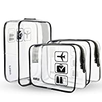 3pcs/Pack ANRUI Clear Toiletry Bag Travel Luggage Pouch Makeup Bags Cosmetic Bag Organizer for Women Men Kids (Black)