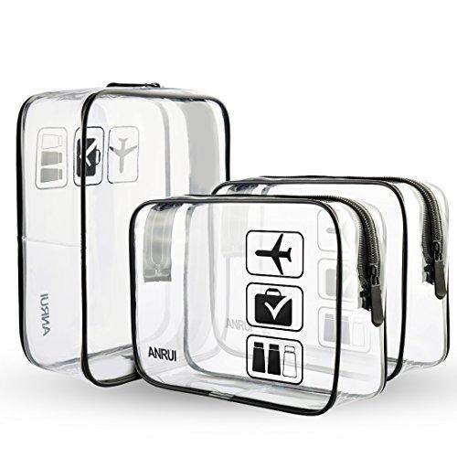 ANRUI Transparente Kulturtaschen TSA Kulturbeutel Genehmigt Reisen Weiter Air Airport Compliant Bag Quart Größe 3-1-1 Kit Reisegepäck Beutel 3 teile / paket (Schwarz, S)