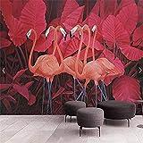 Mrlwy Wandbild Tapete Wandtattoos tropische Pflanzenblätter Flamingo Foto Tapete für Schlafzimmer Sofa Hintergrund Wandbilder benutzerdefinierte große Papier Peint Wandbild 3D-280X200CM