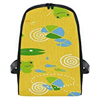 Backpack Abstract Pond Cute Frog Seamless Pattern Small Rucksack Daypack Bags for Girls Boys