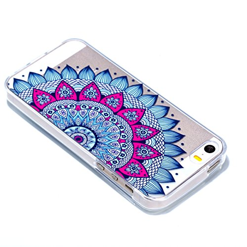 Custodia iPhone 5S, iPhone SE Cover Silicone Trasparente, SainCat Cover per iPhone 5/5S/SE Custodia Silicone Morbido, Shock-Absorption Custodia Ultra Slim Transparent Silicone Case Ultra Sottile Morbi Mandala Fiore