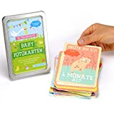 JANEYO® - 33 Baby Meilenstein Karten fürs erste Lebensjahr - Ideal als Geschenk zur Geburt oder Schwangerschaft - Meilensteinkarten Baby Cards für Jungen & Mädchen - Deutsch (kleines Set)