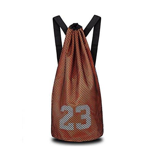 Lazy Puppy Basketball Bag Fitness Training Net Tasche Fußball Tasche Kordelzug Rucksack, Orange Orange Soccer Net