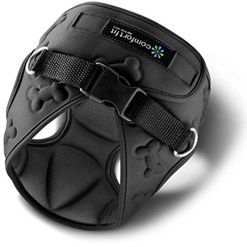 Comfort Fit Hundegeschirr für kleine Hunde, weich, gepolstert, einfaches Anlegen, atmungsaktiv, leicht, flexibel, 3D Design, Größe XXS, schwarz