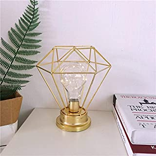AntEuro Diamond Eisen Tischlampe, EONANT Eisen Lampe Nachtlicht Nordic Nachttischlampe mit Batteriebetriebenen Dekorative Beleuchtung für Schlafzimmer, Wohnzimmer, Bar, Hotel (Gold)