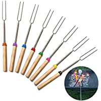 Sehfupoye 8 Pack Roasting Sticks Extendable Marshmallow Roasting Sticks 32 Inch Telescopic BBQ Roasting Forks Stainless Steel with Wooden Handle Sticks Barbecue Forks For Hot Dogs /& Shish Kebabs