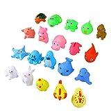 TOYMYTOY 20 Stück Baby Bad Spielzeug Mini Tiere Squeeze und Squirters Gummi Badewanne Spielzeug mit Löffel Netz