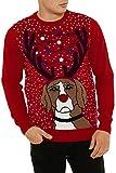 Mürrisch Hund Weihnachtspullover mit LED
