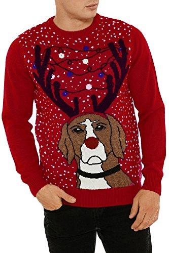 Threadbare Herren Jumper Pullover schwarz schwarz One size Gr. S, Grumpy Dog - Red (Dog Red Herren)