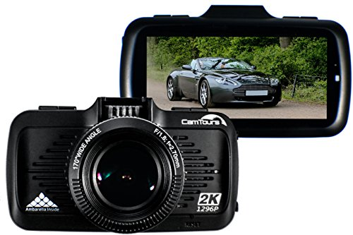 CamTours K4 Dashboard Camera. 170� wide angle Dash Cam with GPS + G-Sensor + Night Vision WDR. Full 2K 1296P HD Recording * FREE 16GB SD CARD*