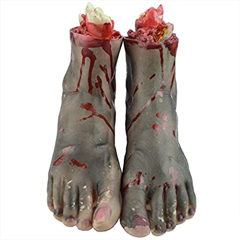 Eizur 1 Pair Halloween Bloody Broken Foot Horror Props Realistic Terrorist Fake Human Body Parts Haunted House Party Masquerade Decoration Practical