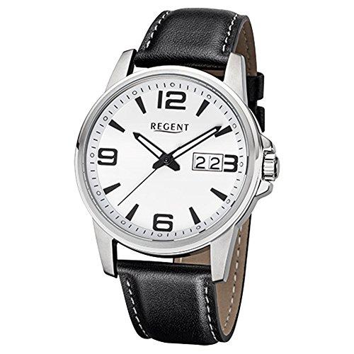 Regent Reloj de pulsera elegante Analog de piel para hombre de pulsera Negro Reloj de cuarzo urf992