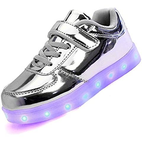 Topteck Kid Boy Girl ricarica USB LED Light Up Sport scarpe da corsa Lumious lampeggiante (G1 Usb)