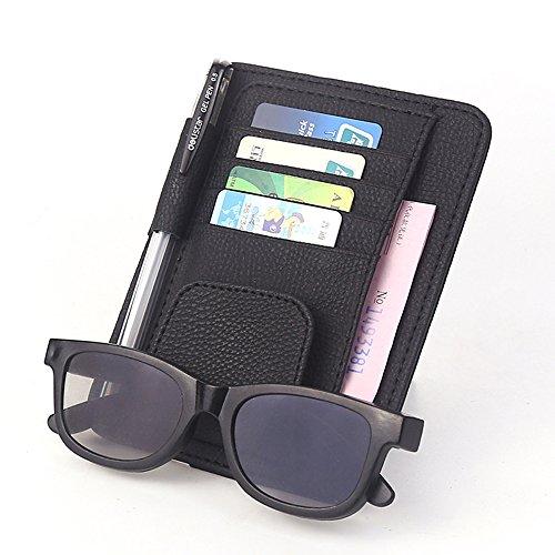 PU Leather Car Sun Visor Organizer with 4 Credit Cards Pockets + 1 Sunglasses Holder + 1 Pen holder + Bills Cards Storage Holder Case for Auto Vehicle Truck SUV (Black)
