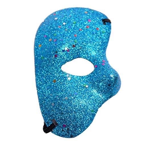 Xinwcanga Weihnachten Halloween Halbes Gesicht Maske Masquerade Hochzeit Requisiten Mardi Gras Party Karneval (Blau, One size)