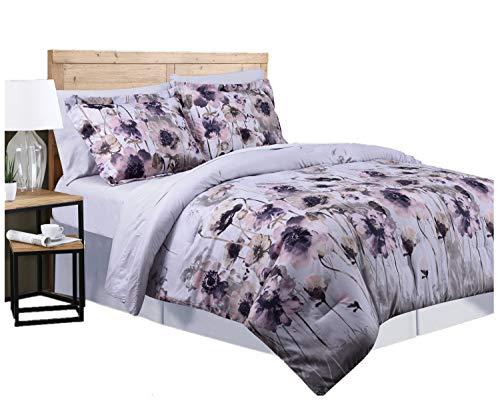 Marina Dekoration Gänsedaunen Alternative Bett in Einer Tasche Rich Bedrucktem 7-teilig Tröster Set King Lila Lotus -