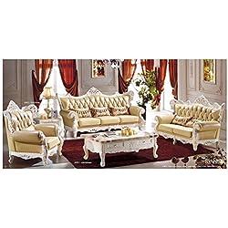 Ma Xiaoying piel genuino y Lujo clásica colección 3pc Set (sofá, silla y Loveseat) luz amarillo por Ma Xiaoying
