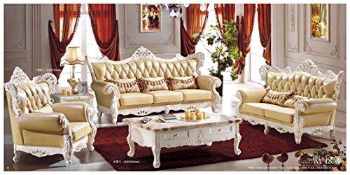 Ma Xiaoying echtem Leder und Luxus klassischen Collection 3-teiliges Set (Sofa, Stuhl und Liebesschaukel) hellgelb by MA Xiaoying