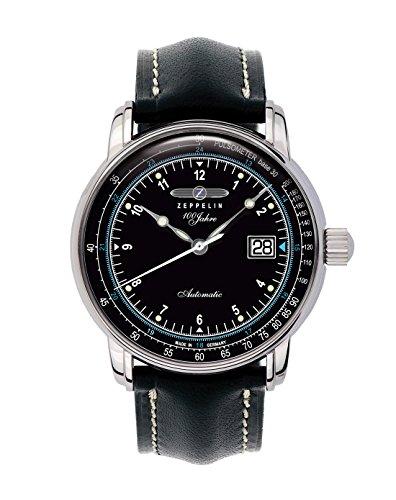 Zeppelin Watches - Reloj analógico automático para hombre con correa de piel, color negro