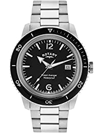 Rotary Men's Quartz Watch with Black Dial Analogue Display and Silver Stainless Steel Bracelet GB02694/04