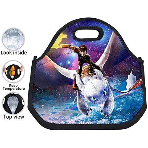 Picknicktasche,Galaxy Dragon Train-Er Light Fury Isolierte Neopren Tinfoil Lunch-Einkaufstasche Wasserdichte Lunchbox Für Kinder/Jungen/Mädchen/Männer/Frauen -