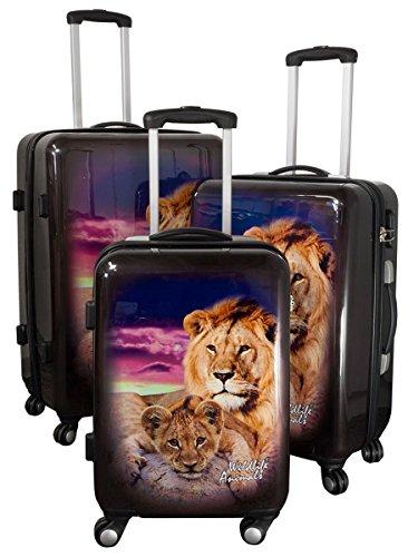 Kofferset Gepäckset Polycarbonat ABS Hartschalen Koffer 3tlg. Set Trolley Reisekoffer Reisetrolley Handgepäck Boardcase PM (Löwe)