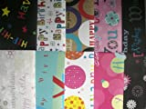 20 SHEETS OF HAPPY BIRTHDAY WRAPPING PAPER - (2 PACKS OF 10)