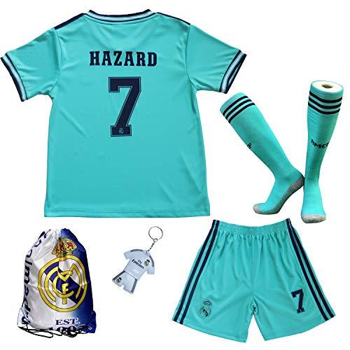 2019/2020 Real Madrid #7 Eden Hazard Third Kinder Fußball Trikot Hose und Socken Kindergrößen (Third, 28 (11-12 Jahre))