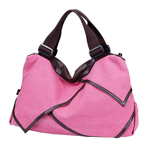 Studenten Leinwand Praktisch Weich Reißverschluss Uni Große Kapazität Einzelne Schulterbeutel Handtasche Pink