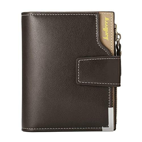 Portefeuille en Cuir PU pour Homme, Tri-Fold Compact Slim Porte Monnaie avec Fermeture Eclair
