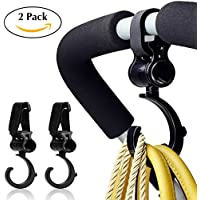 Inasmile Baby Pushchair Swivel Hanger for Bags Baby Stroller Hooks Prams Hanger Pushchair Rotating for Buggy Clips Trolley Hanging Bags Clothes (Pack of 2) (360° Hooks)