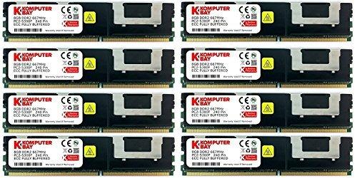 Komputerbay 64GB (8x 8 GB) DDR2 PC2-5300F 667MHz CL5 ECC Fully Buffered FB-DIMM (240 PIN) w / Heatspreadern -