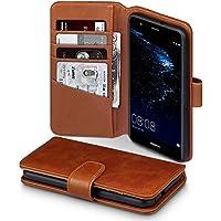P10 Lite Case, Terrapin [ECHT LEDER] Brieftasche Case Hülle mit Standfunktion Kartenfächer und Bargeld für Huawei P10 Lite Hülle Cognac