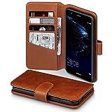 Terrapin, Kompatibel mit Huawei P10 Lite Hülle, [ECHT LEDER] Brieftasche Case Tasche mit Standfunktion Kartenfächer und Bargeld - Cognac