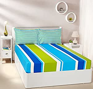 Amazon Brand - Solimo Mondrian Stripes 144 TC 100% Cotton Double Bedsheet with 2 Pillow Covers, Blue and Green