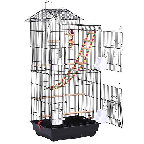 Yaheetech Cage à Oiseaux 46 x 35,5 x 99 cm avec 3 Jouets Poignée Portable 4 Mangeoires 3 Perchoirs Cage pour Perruche Calopsitte Conure Pinson Canaris