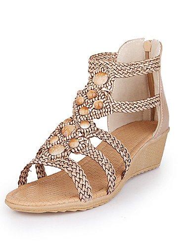 UWSZZ IL Sandali eleganti comfort Scarpe Donna-Sandali-Tempo libero / Formale / Serata e festa-Zeppe / Tacchi / Comoda-Zeppa-Finta pelle-Giallo / Bianco / Beige beige