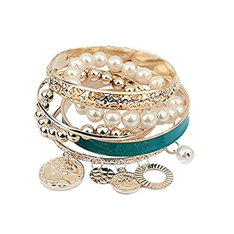 Fashion Womens Multi-Layer Hand Bracelet Pearl Beads Chain Bangle (Blue)
