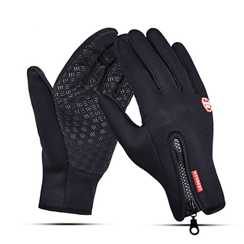 B-Forest Lyna Radfahren Skifahren Eislaufen Handschuhe, einstellbare Wasserdichte Touch Screen Bike Handschuhe im Winter im Freien für Männer oder Frauen (L)