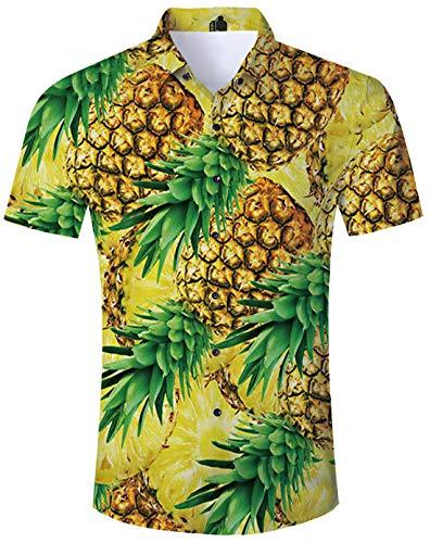 TUONROAD Hemd Herren Kurzarm Funny Hemd Gelb Ananas 3D Gedruckt Muster Bunte Funky Shirt Hawaiihemd Sommerhemd Button Down Hawaihemden Strandhemd Hawaii Hemd Gelb Männer Jungen XL
