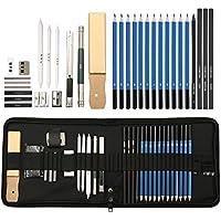 ARTISTORE Set matite per il disegno a carboncino 32 pezzi con album da disegno, borsa, strumenti, gomme da cancellare, set di matite in grafite professionale per ombreggiatura, disegno e disegno MM