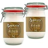 MeaVita Bio Kokosöl, nativ, DE-ÖKO-037, 2er Pack (2 x 1000 ml) im praktischen Drahtbügelglas