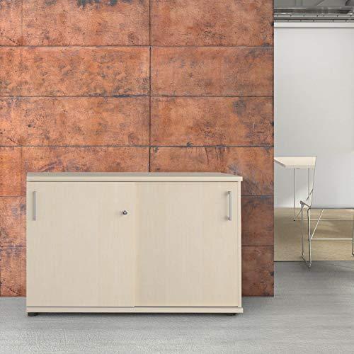 Weber Büro Uni Schiebetürenschrank Sideboard abschließbar 1,2M breit 2OH Ahorn Aktenschrank -