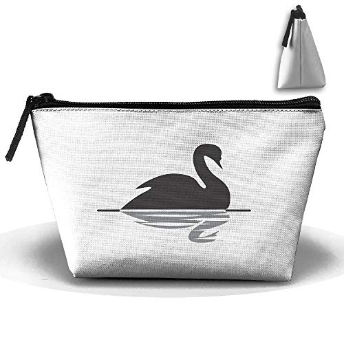 Trapezoidal Bag Makeup Bag Black Swan Swimming Storage Portable Travel Wash Tote Zipper Wallet Handbag Carry Case