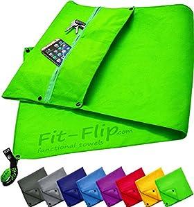 3er Set | Fitness-Handtuch mit Reißverschluss Fach + Magnetclip + extra Sporthandtuch | zum Patent angemeldetes Multifunktionshandtuch, Fit-Flip Microfaser Handtuch (grün)