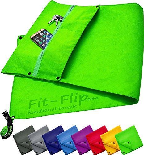 Fit-Flip 3-TLG Fitness-Handtuch Set mit Reißverschluss Fach + Magnetclip + extra Sporthandtuch | zum Patent angemeldetes Multifunktionshandtuch, Microfaser Handtuch (grün)