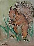 Lo scoiattolo-Dipinto ad acquarello su cartoncino telato,Dimensioni cm 18x24x0,3 cm,fatto a mano.Made in Italy,realizzato Dal Pittore Davide Pacini, Toscana, Lucca.certificato.