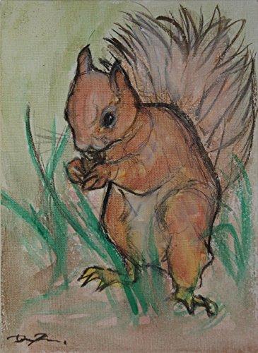 Das Eichhörnchen-Aquarellmalerei auf Leinwandpapier, Größe cm 17,8x23,9x0,3 cm, handgefertigt, Hergestellt in Italien, hergestellt von Painter Davide Pacini, Toskana, Lucca.zertifiziert. Arte-dekor